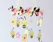 Bee & Flower Nursery Mobile- Baby Mobile, Baby Shower Gift