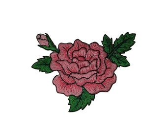 ID #6190 Pink Rose Blossom Flower Plant Love Iron On Embroidered Patch Applique
