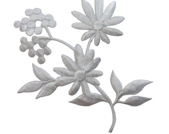 ID #6765 White Wildflower Blossoms & Buds Iron On Embroidered Patch Applique