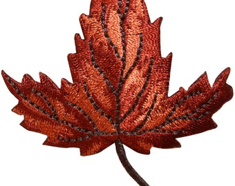 ID #7160 Maple Tree Leaf Autumn Fall Nature Embroidered Iron On Badge Applique Patch