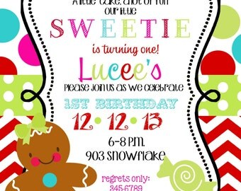 12   Christmas Holiday  Birthday Party Invitations with envelopes -gingerbread girl