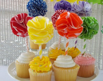 Fabric Cupcake Toppers- Rainbow colors