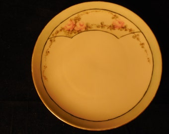 Vintage Hand-painted Pink Rose Display Plate     p344