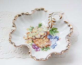 Vintage Candy Dish With Pineapple and Grapes, Gold Edge