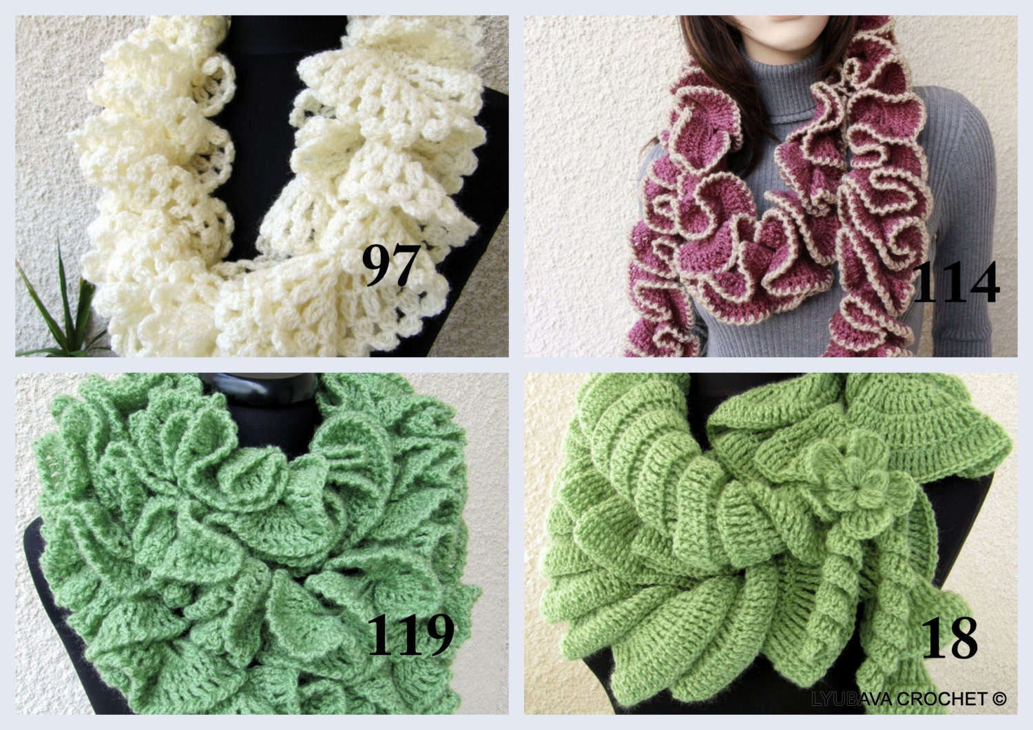 Crochet Ruffle Scarf PATTERNS Unique Crochet by LyubavaCrochet
