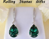 14x10mm Emerald and Cubic Zirconia Swarovski Pear Crystal Earrings-Emerald and Silver Pear Swarovski Rhinestone Earrings- Bridal Earrings