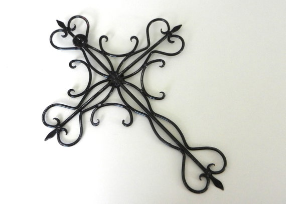 black cross wall hanging ornate wrought iron by. Black Bedroom Furniture Sets. Home Design Ideas