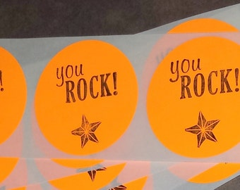 STICKER LABEL / You Rock / Envelope Party Favor Seals / Round Hand stamped Set of 15