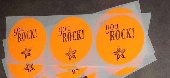 STICKER LABEL / You Rock / Envelope Party Favor Seals / Round Hand stamped Set of 15