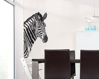 Zebra Printed Wall Decal Sticker - Zebra Decal, Safari Decal, Zebra Wall Decor, Animal Wall Decal Sticker, Zebra Nursery, Zoo Wall Decal