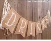 DRINKS Burlap Banner // Lace and Pearls // Wedding Decoration