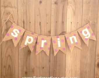 SPRING Burlap Bunting // Polka Dot Burlap // Seasonal decoration