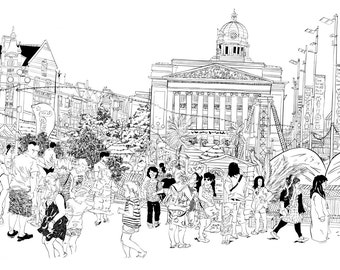 A4 Illustration Print - Nottingham City Centre and Riviera.