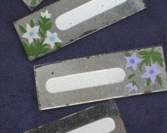 Set of 8 Mirror Glass Place Cards With Hand Painted Flowers - Vintage Antique - In Original Box- Dining, Table Top, Shower, Tea, Lunch