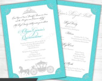Quinceanera Princess Invitation - Blue Aqua Silver Gold Royal Ball Birthday Sweet 15 16 1st First Crown Tiara Printable