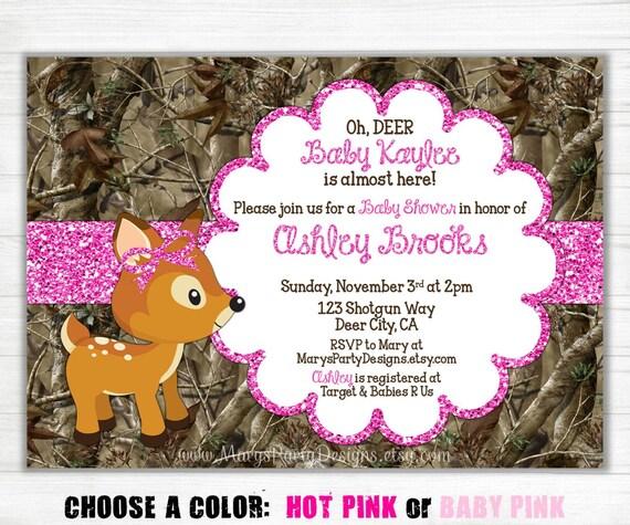 pink camo baby shower invitation girl glitter oh deer doe hunting