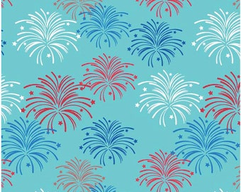"Star Spangled Cottons - Stripes Fireworks Aqua - Riley Blake Designs - Half Yard Cut - ""Star Spangled"" by Doodlebug Designs - Cotton Fabric"