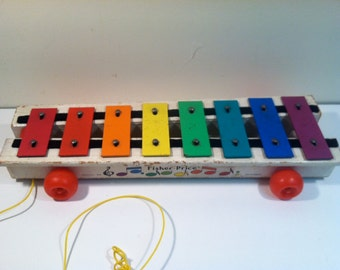 Vintage Fisher Price Xylophone Musical Pull Toy