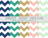 Digital Paper, Printable Scrapbook Paper Pack, 12x12, Chevron N02, Set of 5 Papers, Blue Navy, Gold, Green, Pink, Mint