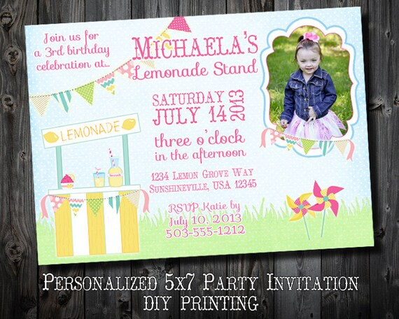 The lemonade stand collection customized birthday for What does rsvp stand for on an invitation