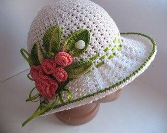 Hat Brim in White with Roses Crochet Girl Women