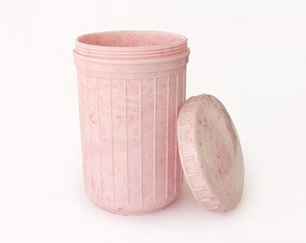 Vintage Pale Pink Canister with Lid, Kitchen Storage Container, Kitchen Organizer