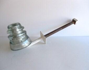 Mid Century  Glass Wire Insulator Steel Arm Bracket Industrial Architectual Art Craft Decorative Patio Decor