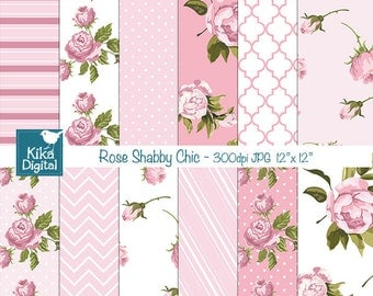 Pink Shabby Chic Digital Papers, Digital Scrapbook Papers, Shabby Chic Papers - card design, invitations, background - INSTANT DOWNLOAD