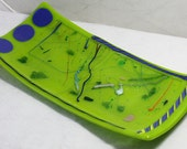 Fused Glass Plate, Made in USA, Housewares,  Home Decor, Office, Shower Gifts, Wedding Gift, Art Glass, Designer Plate, Hand Crafted in USA