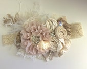 Baby Girl Headband- Baby Headband- Flower Girl Headband- Dollcake Headband- Ivory Tan Headband-Girls Headband-Hair Bow