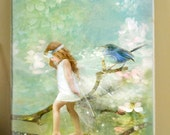 """A2 Fine Art Canvas 22""""x16""""inches  FREE SHIPPING '  Spring Awakenings ' Fairy with Bird"""