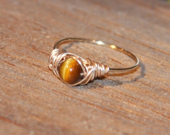 Tigers Eye Ring, Wire Wrapped Ring, Stone Ring, Ring Handmade, Knuckle Ring, Wire Wrap Ring Gold Thin Ring Stacking Ring