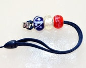 Red, White and Blue Beaded Cell Phone or Camera Strap