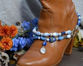 Boot Bracelet With Denim Blue Natural Stones