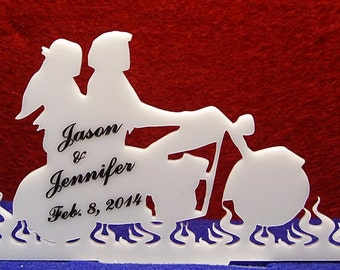 Personalized Acrylic Flames Motorcycle Biker cake topper, your name and date added FREE !