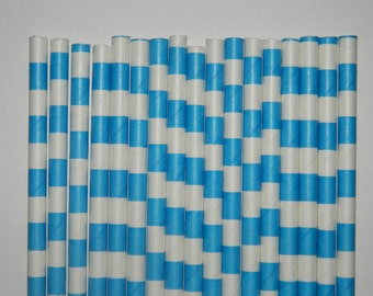 25 Aqua Blue Rugby Horizontal Striped Paper Straws-Sesame Street Party Straw-Birthday Decorations,Cake Pops-Baby,Bridal Shower,Wedding Decor