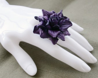 Violet leather rose flower ring