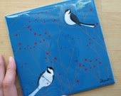 Chickadee Tile Trivet in Persian Blue and Red 6x6