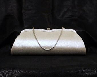 Silver Lame' Clutch Wristlet Handbag