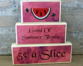 Watermelon, Good Old Summer Thyme, Wooden stacking blocks, HAFAIR