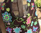 TODDLER BIB Bright Flowers on Brown