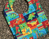 TODDLER BIB: Bright Colored Dinosaurs, Personalization Available