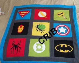 Custom Made Superhero Super Hero Comic Fleece Applique Crib - Toddler/Lap - Twin - Full - Queen Size Quilt Blanket