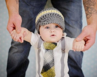 Baby Boy Tie Bodysuit with Suspenders, Tie, and Hat. Preppy, Photo Prop, Fall, Winter, Yellow Grey Plaid, Pick your own