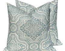 Blue Pillow -Pillow Covers - Decorative Pillows - Pillows - Throw pillows - Throw pillow covers - Damask - Tan - Accent Pillows - Cushion