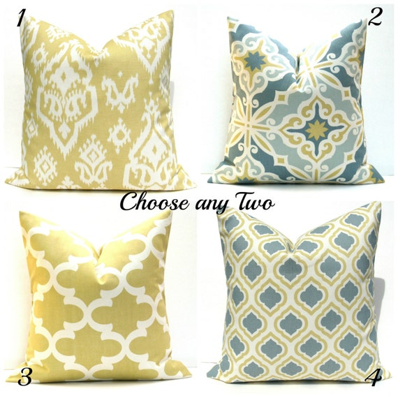 Decorative Pillow Covers Gold Pillow Grey Yellow Pillows TWO