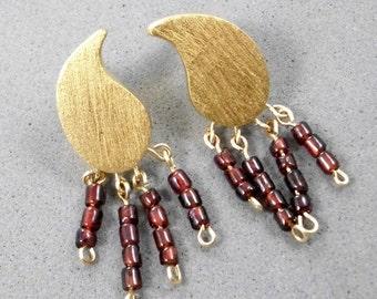 Stud Earrings, 9k stud, For Sensitive Ear,Leaf Shaped, Plated by 24K Garnet Beads, Bordeaux, Festinve, Wedding, Elegant