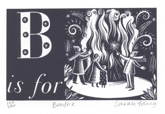 B is for Bonfire- Alphabet Silkscreen Print