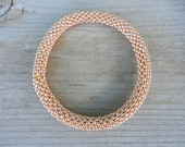Sparkly Permanent Finished Galvanized Rose Gold Bead Bracelet,Japanese Seed Beads,Nepal, JB4