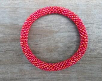 Shimmering Red Crocheted Beaded Bracelet,Czech Seed Beads,Nepal, SB6